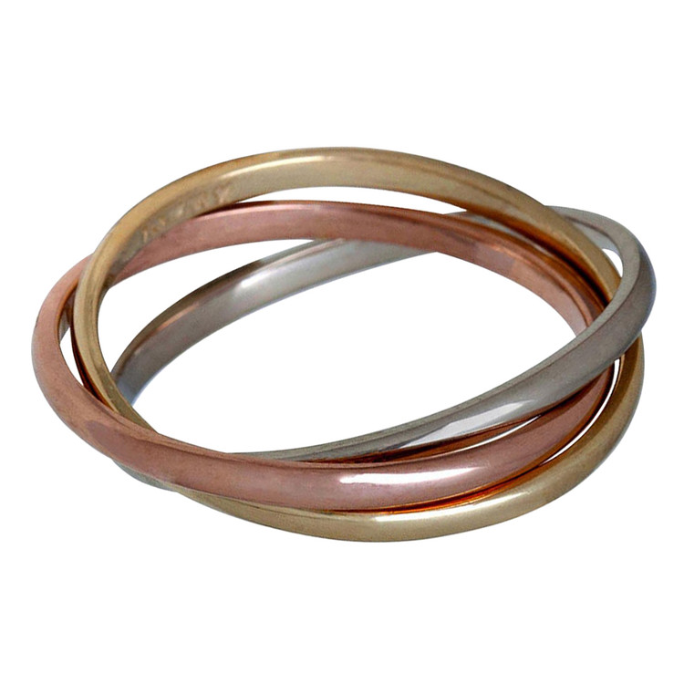 Mens 1.5 MM tri-color white, yellow and rose gold interlinked rolling band (MDVB0642)