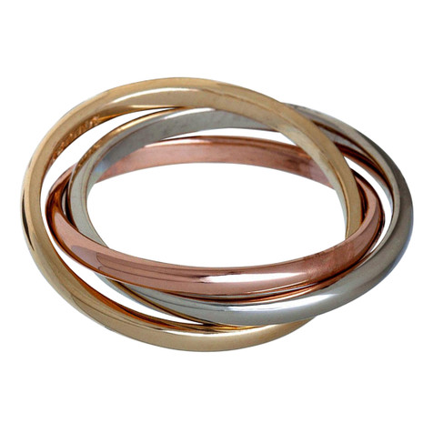 Mens 2 MM tri-color white, yellow and rose gold interlinked rolling band (MDVB0643)
