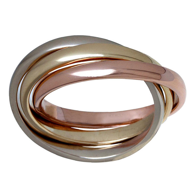 Mens 2.5 MM tri-color white, yellow and rose gold interlinked rolling band (MDVB0644)