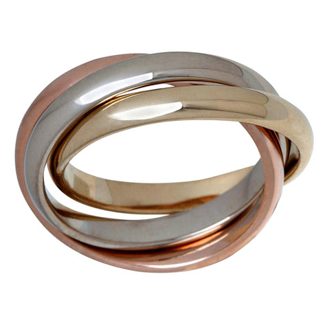 Mens 3 MM tri-color white, yellow and rose gold interlinked rolling band (MDVB0645)