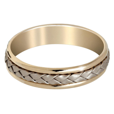 Mens 5 MM yellow gold band with white gold braided center (MDVB0646)