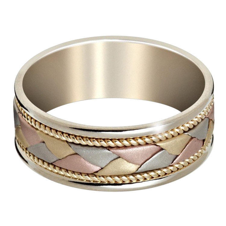 Mens 8 MM white gold band with tri-color white, yellow and rose gold center and milgrain detailing (MDVB0647)