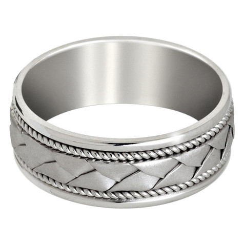 Mens 8 MM all white gold band with braided center and milgrain detailing (MDVB0648)
