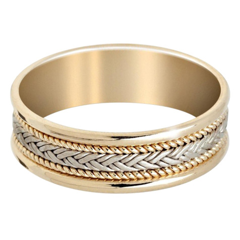 Mens 7 MM yellow gold band with white gold weaved center and yellow gold milgrain detail (MDVB0649)