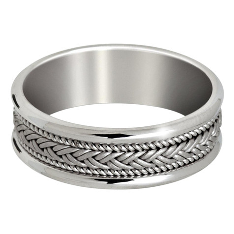 Mens 7 MM all white gold band with weaved center and milgrain detail (MDVB0650)