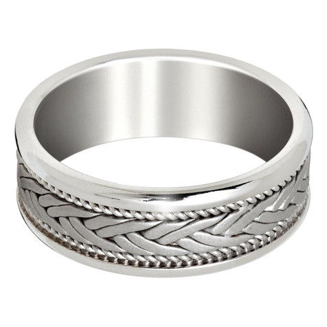 Mens 8 MM all white gold band with interlocked center and milgrain detail (MDVB0651)