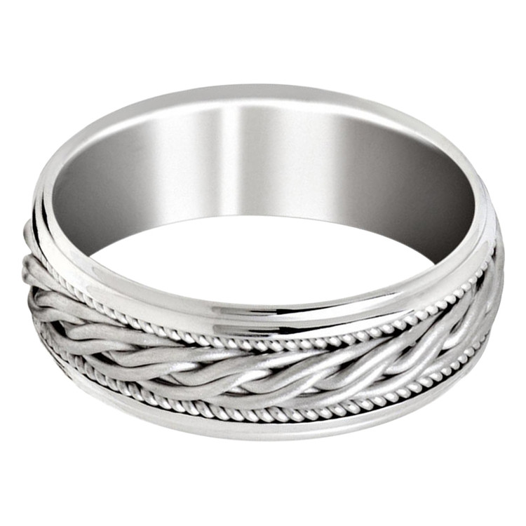 Mens 8 MM all white gold band with braided center and milgrain detailing (MDVB0652)
