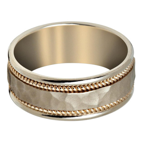 Mens 8 MM white gold band with satin hammered finish center and yellow gold milgrain detailing (MDVB0653)