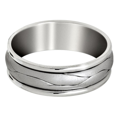 Mens 7 MM all white gold band with weaved center    (MDVB0654)