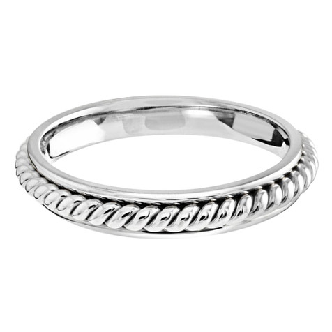 3 MM all white gold center twist band (MDVB0656)