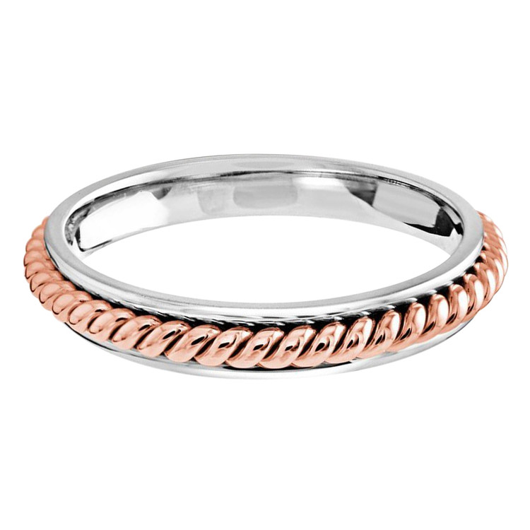 3 MM two-tone white and rose gold center twist band (MDVB0657)