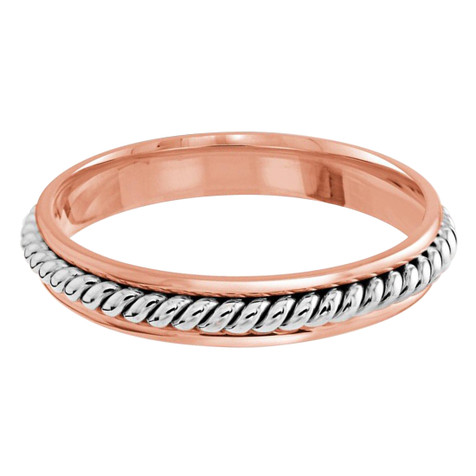 3 MM two-tone rose and white gold center twist band (MDVB0658)