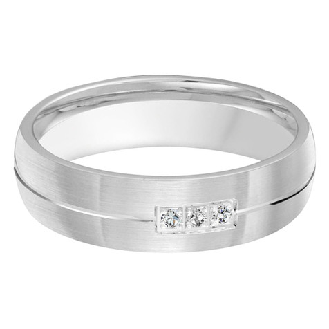 Mens 6 MM all white gold satin finish center grooved band, embellished with 3 X .015 CT diamonds (MDVB0372)