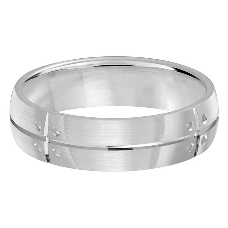 Mens 6 MM all white gold band with dotted accents (MDVB0373)