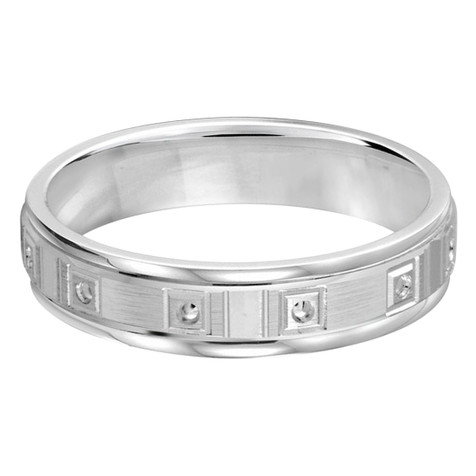 Mens 5 MM all white gold band with dotted accents (MDVB0374)
