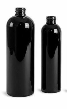 PET Plastic Black Bullet bottles with cap of choice