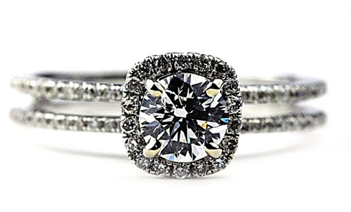 Split Shank Halo Engagement Ring - GIA .54ct Ex. H SI1