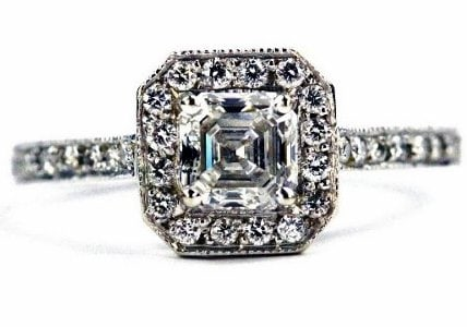Unique Halo Asscher Cut Engagement Ring