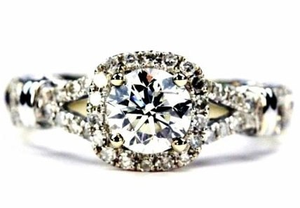 Antique Split Shank Halo Engagement Ring