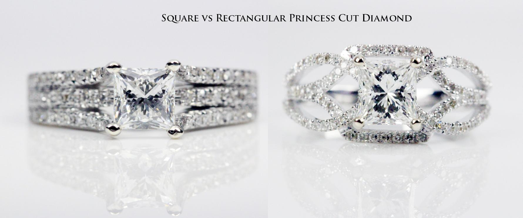 square vs rectangular princess cut diamond