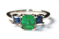 Antique Emerald and Sapphire Platinum Ring