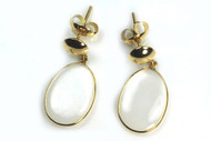 Moonstone earrings, solid 18K gold earrings