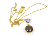 Beautiful Gold Sterling Silver Necklace with Finest Natural Amethysts and Smokey Topaz