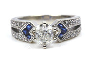 Cushion Cut Diamond Engagement Ring Vintage Inspired Modern Design with GIA Certified Diamond and Natural Sapphires
