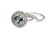 Unique Halo Engagement Ring & Band -Diamonds & Sapphire
