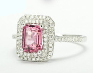 Emerald Cut Pink Tourmaline Ring Gemstone