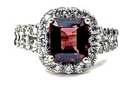 Unique 18K White Gold Diamond Rubellite Ring - WoH