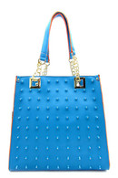 Blue Rhinestone Tote Bag