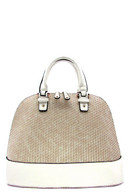Beige & White - Satchel Bag Zipper top closure Textured faux leather Rear zipper pocket Inside lining with open/zip pockets 14 inch handles 50 inch adjustable strap 17 (W) x 6 1/2 (D) x 11 (H) inches