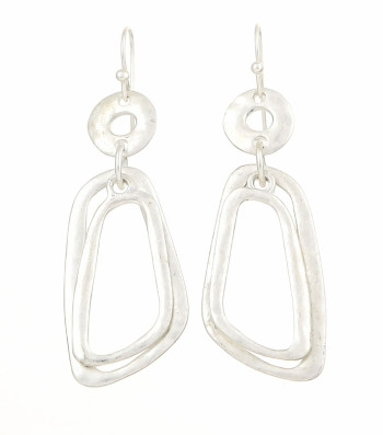 Plated Metal Hammered Drop Earrings  Color: Silver  Material: Silver Burnish Plating Description:  Hook Earrings