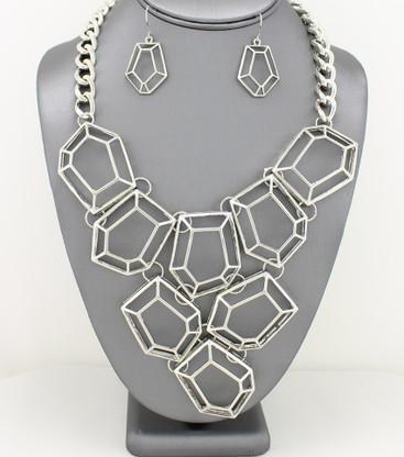 Statement Geometric Metal Bib Necklace Necklace Sets Color: Silver