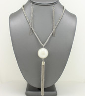 Long Pearl Tassel Pendant Necklace Necklace Sets Color: White