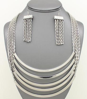 Long Layered Metal Bar Necklace Set Necklace Set Color:Silver