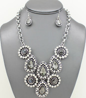 Gemstone Bib Necklace Set Necklace Sets Color: Grey 17 inches
