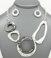 Crafts Hammered Rings Necklace Set 16 inches