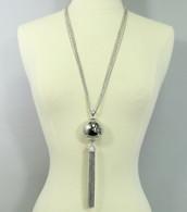 Long Metal Ball Fringe Pendant Necklace Set