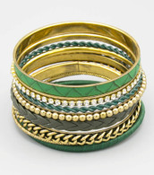 Leather Stackable Bangle Set