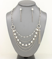 Long Dainty Layered Pearl Chain Necklace Set