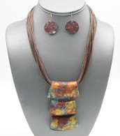 Multi-color Tube Pendant Craft Necklace Set