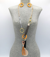 Brown Long Tassel Pendant Necklace Set