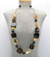 Brown Long Drawstring Cord Animal Print Necklace Set