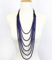 Indigo - Layered Multi-strand Leather Beaded Necklace