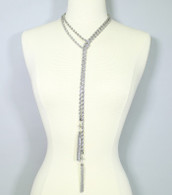 Rope Chain Necklace with Rhinestone Tassel