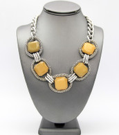 Yellow - Stone Link Toggle Necklace  Color: Yellow  Length - 21 inches long