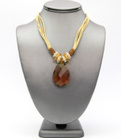 Teardrop Pendant Cord Necklace   Color: Brown  Length: 17 inches long + 3