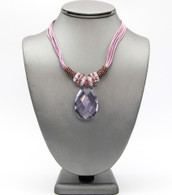 Teardrop Pendant Cord Necklace   Color: Lavender   Length: 17 inches long + 3